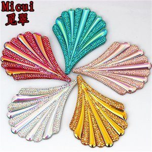 20pcs 43*61mm AB Color Leaf Resin Rhinestones Flat Back crystal Button For Clothes Dress Crafts Garment decoration ZZ773