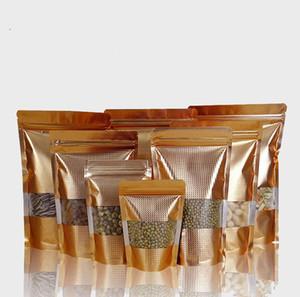 100 stücke gold embassed stehend paket reißverschluss ziplock tasche mit durchsichtigem fenster reseslable verpackung mylar goldene beutel tasche
