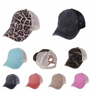 Buraco de-cavalo chapéu de basebol 10 cores Washed Cap Baseball de algodão verão respirável malha Correndo Hat Beach Girls Snapback OOA8095