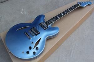 Custom Shop Dave Grohl DG 335 Metallic Blue Semi Hollow Body Jazz guitare électrique Guitarra double diamant trous de Split White Diamond MOP Inlay