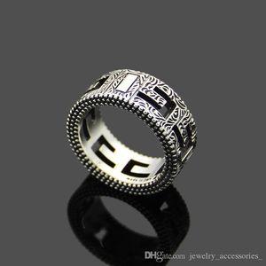 Серебряное кольцо Мужчины Hollow Wide S925silver кольца Vintage партии 3D кольца