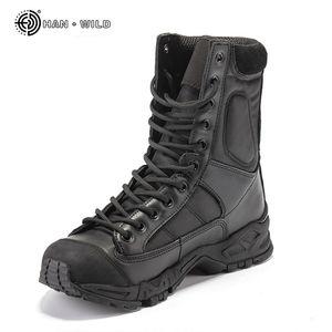 Stivali militari dell'esercito Uomo Stivali da lavoro in pelle nera da combattimento da combattimento Stivali invernali da uomo tattici alla caviglia da uomo Plus Size MX190819