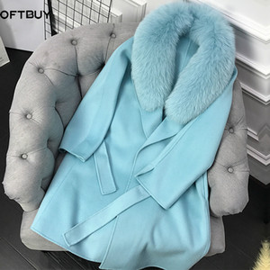 OFTBUY 2020 Manteau de fourrure réel Veste d'hiver Femmes col de fourrure de Fox naturel Cachemire Laine long-vêtement Ceinture dames Streetwear