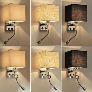 Pano de Parede Lâmpada Arandela Interruptor Da Escada Luminária E27 Lâmpada de Leitura Flexível luz Quarto Corredor Varanda Moderna Parede Montada Iluminação de cabeceira