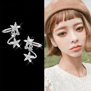 S925 Gümüş İğne Kore Mizaç Kulak Manşet Basit Tatlı Bayan Çiçek Küpe Zirkon Kız Kalp Küpe