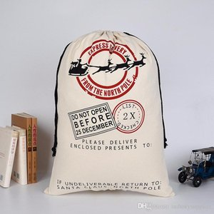 2020 рождественские подарочные пакеты для детей хлопок шнурок карманный экологический луч холщовый мешок Лось Рождественский мешок пятно Оптовая продажа A02