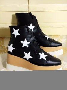 Kadınlar Deri Bilek Boots Stella Mccartney Yıldız Creepers Ayakkabı Rose Gold strappy takozları Platformu Kış Flats Ayakkabı Espadrilles Kutusu C04