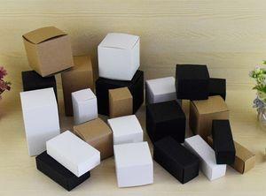 50PCS براون / أبيض / أسود فارغا كرافت مربع ورقة لمستحضرات التجميل صمامات أنابيب مربع صناديق هدية كرافت شمعة تغليف الهدايا