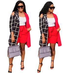 Mujeres de la manera Trajes 3/4 remiendo cuadrícula capa de la chaqueta + pantalón corto rojo de 2 pedazos diseño de las señoras abrigos Tops traje ropa de chándal