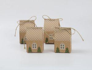 2019 New Christmas Party Gift Box DIY смазливая Pine Tree Snow House благосклонности коробки конфеты коробки шоколада сумки