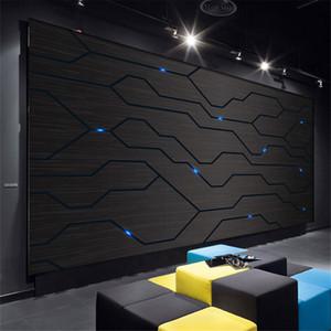 Bacal 3D Black Metal Circuit Board Industrie-Dekor-Wand-Papiertechnik Unternehmen Dekor-Wand 3D-Hall-Internet Bar KTV Wallpaper
