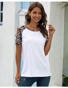 Verão Fina Descontraído Tops Designer Sexy Ladies Leopard Print Womens luva oco Out Female Tees Curto Tshirts