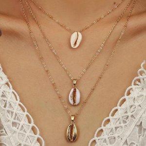 Três Camadas de Shell Pingente de Colar Natural Shell Cowrie Ouro Mulheres Melhor Amigo Cowry Seashell Colar Bohemian Jóias XL618