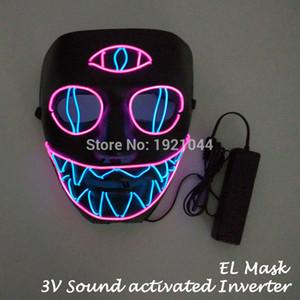 Geburtstagsfeier Multicolor Drei-Augen-Maske Leuchtendes Produkt El Wire Neon Maske Scary Party Theme Cosplay Lustige Serie Masken