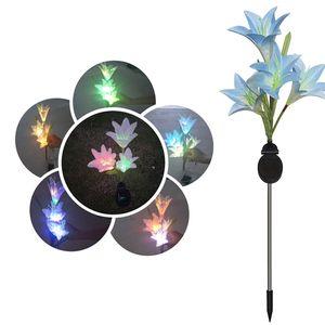 Güneş Işığı 4 Başkanları Güneş Fener LED Dekoratif Açık Çim Lambası 4 Çiçek Lily Garden Lambası Güneş Çiçek ışık