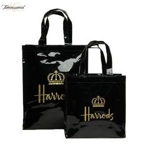 London Style Pvc Reusable Shopping Bag Womens Bag Eco Friendly Small Signature Shopper Bag Waterproof Handbag Shoulder