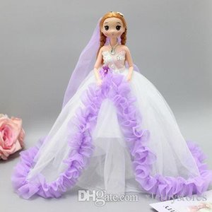 ht 30cm Doll Prenses Akşam Parti Giyim için Gelinlik Uzun Elbise Kıyafet Seti Bebek prenses kolye Giyer