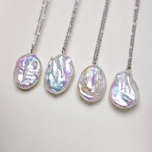 Пресноводные культивированный барокко Перл кулон Большой Жемчужное ожерелье Уникальный Pearl PendantNecklace для женщин Подарок