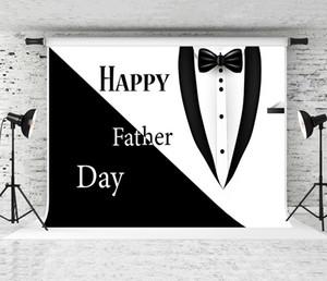 Rêve 7x5ft Bonne fête des pères Backdrop costume noir smoking blanc Noeud papillon Décor Photographie de fond pour papa de fête d'anniversaire Tirez Backdrops