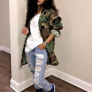 المرأة معطف طويل المتضخم عادية اللباس البسيطة السيدات العسكرية سترة من القطن بالاضافة الى حجم معطف نادي الجيش حزب الخضر مثير التمويه T191018