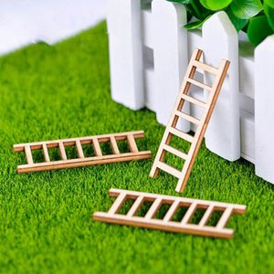 Home & Garden 3pcs Mini Wooden Step Ladder Furniture Tools Fairy Garden Miniatures Decor Action Figurine DIY Micro Gnome Terrarium Gift