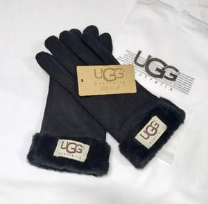 Kürk Eldiven Unisex PU Deri Kadınlar Five Fingers Eldiven ile luxurys Handwear Kış Mat Deri 3 Renk 6221 Marka Toptan