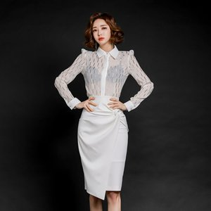 Elegante OL Art 2 Stück Anzug Set Weiße Bluse Rock mit hohen Hüfte Büro-Dame-Frauen-Set