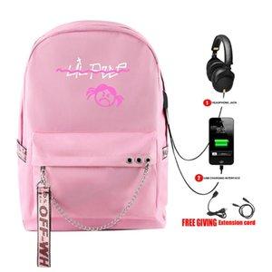 Neue Art und Weise Rap Lil Peep Rucksack USB aufladbare Schoolbag Frauen Schulterreisetasche Multifunktions Teenager Rucksack