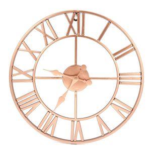 40 cm Metallo Oro rosa rame openwork Romano Silenzioso Orologio Da Parete Home Decor Soggiorno Design semplice