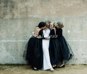 Abiti da damigella d'onore neri gotici Bateau a maniche lunghe Vedi abiti da cerimonia nuziale da spiaggia in stile country con fondo alla caviglia Plus Size 2019