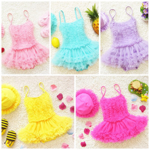 Baby Clothes Girls Swimsuit Swimwear Bikini Princess Dress 2PCS Solid Color One-Piece Bathing Suit With Hood Kids Clothing XY78