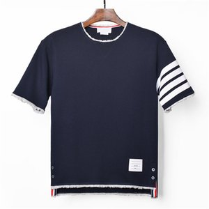 TOP qualidade Pure Cotton Loopback Jersey Knit Engineered 4-Bar Arm Stripe Unfinished Raw Edges T-shirt hem Descontraído-Fit T das mulheres dos homens