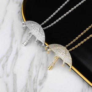 Nouveau Zircon cubique Glacé chaîne Umbrella Pendentif Hip Hop bijoux collier pendentif
