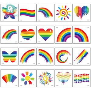 Rosto impermeável tatuagem do arco-íris Etiqueta do arco-íris Etiqueta Sports Club Camuflagem da listra do amor adesivos decoração do partido tatuagem