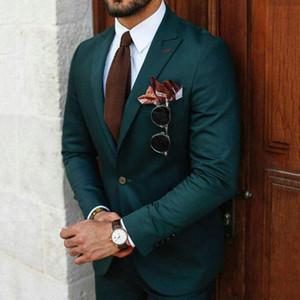 Setwelldrees nuovo modo Green Business Men Suits 2 pezzi Set da sposa sposo smoking Personalizza Groomsmen abbigliamenti (giacca + pantaloni)