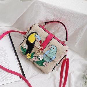 Дизайнер-2019 европейская и американская мода холщовая сумка женская мозаика цветок и птица маленькая квадратная сумка плечо сумка-мессенджер