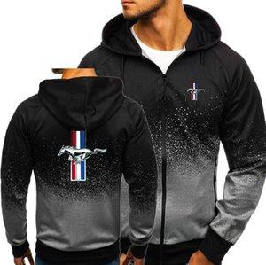 Мужской пуловер Толстовка Мужчины Толстовки Ford Mustang печати куртка весна осень кулиской молния с капюшоном Толстовка Топ