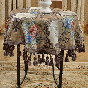 Round Square chenille tablecloths table Table dinner cover mat Europe beauty yarn dye flower polyester home Dec FG901