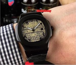 Negro de acero reloj tallado fondo tienda de ropa de línea de los hombres reloj inoxidable reloj mecánico automático balanza digital árabe informal