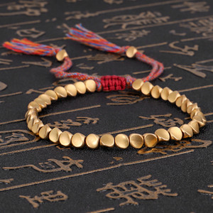 New Jewelry Hand woven Text Play Line Bracelet Shaped Copper Beads Bracelet Creative Pull Tassel Hand Rope