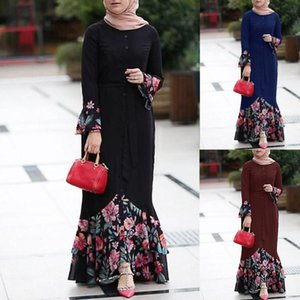 Fashion Women Print Abaya Jilbab Muslim Maxi Dress Women Floral Long Cocktail Muslim Long Dress Evening Party Islamic Abaya Robe