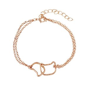 Pulseras Cat Moon Hollow Cute Animal Cat Love Heart Charm Bracelet Sweet Multilayer Bracelet