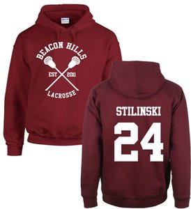 Moda Genç Kurt Hoodies Beacon Hills Lacrosse Stiles Stilinski Hoody Kız Erkek Yetişkin Polar Kazak Maroon Unisex