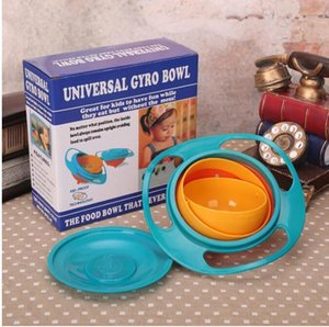 360 Rotating Kid-Proof não derramamento de alimentação da criança bacia Gyro com tampa evitar alimentos que derrama Crianças Criação bacia caixa de embalagem
