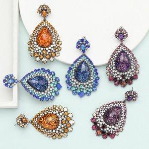 Hot Fashion Jewelry Colorful Rhinstone Resin Earrings Drop Dangle Stud Earrings