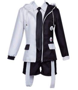 Danganronpa Monokuma Cosplay Costume Black White Bear Hoodie Jacket School Uniform