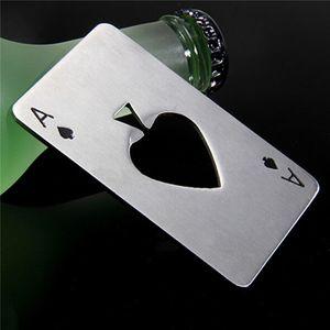 1pcscreative Bottle a forma di poker in acciaio inox Opner Bottiglia da casinò con carta di credito in acciaio inox opner Abrelotas Abrebotellas