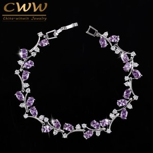 CWWZircons 6 Colors Options White Gold Color Handmade Austrian Crystal Rhinestone Purple Stones Bracelets Bangle for Women CB078