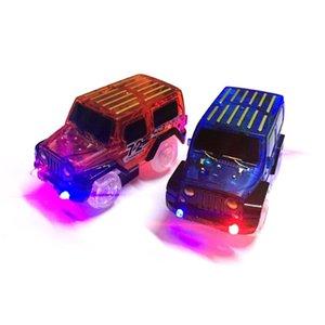 Glow Race Track Yanıp sönen Kid Demiryolu Aydınlık Makinesi Parça Araba Brinquedos coFGb İçin Elektronik Araç Oyuncak Led Işık Up Arabalar
