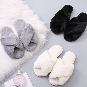 Maylofuer Pure Color New winter plush slippers women's home leopard plush slippers women